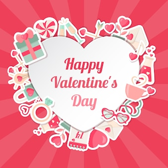 Valentines day banner with flat icons and heart shape frame