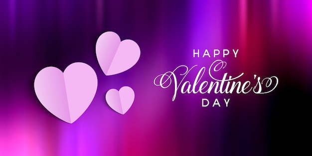 Valentines day banner with folded hearts design