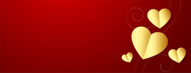 Valentines day banner with golden hearts and text space