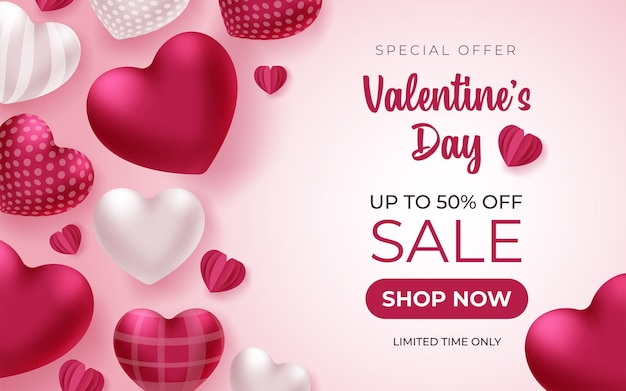 Valentines day banner with greeting text and hearts on pink