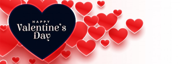 Valentines day banner with many red hearts
