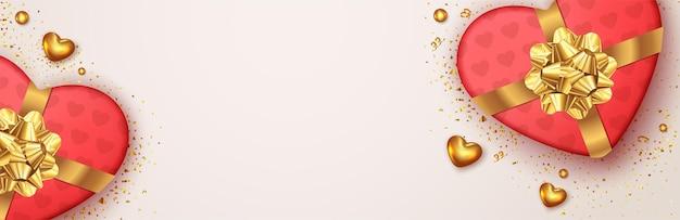 День святого валентина баннер с реалистичным дизайном подарочной коробки