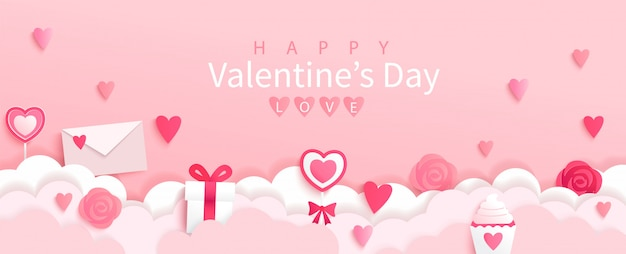 Valentines day banner with symbols of holiday-gifts,hearts,letters,flowers on pink background with wishing happy holiday, origami style.