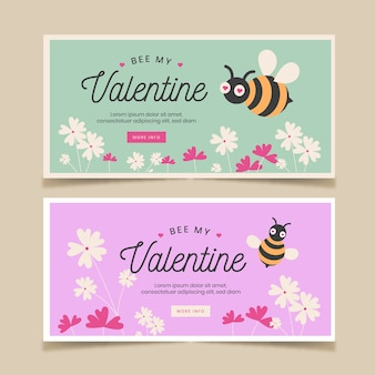 Valentines day banners with bees and flowers