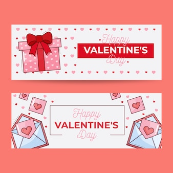 Valentines day banners with flat design