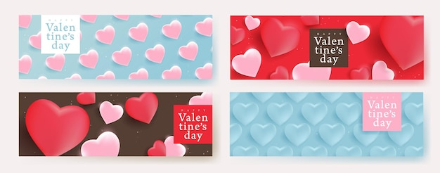 Valentines day banners with heart shape