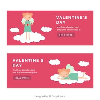 San valentino striscioni giorno con bella piccolo angelo