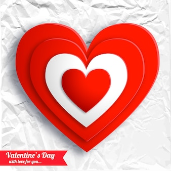 白いしわくちゃの紙に赤いハートのバレンタインデーの美しい背景分離ベクトル図