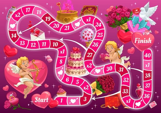 漫画のキューピッドキャラクターとバレンタインデーのボードゲーム