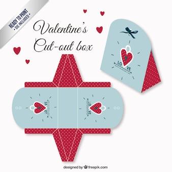 赤と青の色のバレンタインの日ボックス