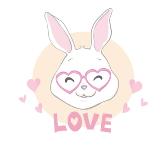 Valentines day bunny rabbit with red heart and love text
