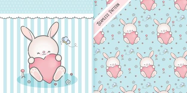 День святого валентина кролик с сердцем
