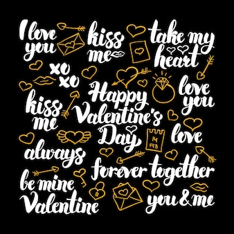 Valentines day calligraphy design. vector illustration of love holiday lettering.