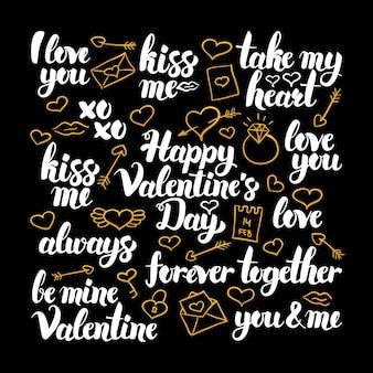 Дизайн каллиграфии дня святого валентина. векторная иллюстрация надписи праздник любви.