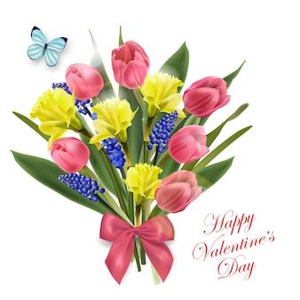 Открытка на день святого валентина красивый букет из весенних цветов тюльпанов нарциссов