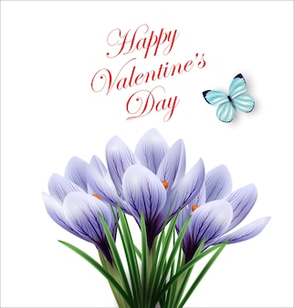 Valentines day card beautiful bouquet of spring flowers crocusesspring background vector