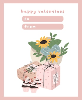 Valentines day card dedication note love letter cute scandinavian cartoon design Premium Vector