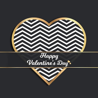 幾何学的なハートのイラストと休日テンプレートのバレンタインデーカード。クリエイティブでラグジュアリーなスタイルのパターン
