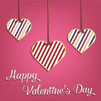 Карточка дня святого валентина для праздничного шаблона с геометрической иллюстрацией сердец. креативный и роскошный образец стиля
