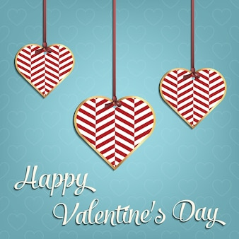 Valentines day card for holiday template with geometric hearts illustration. creative and luxury style pattern