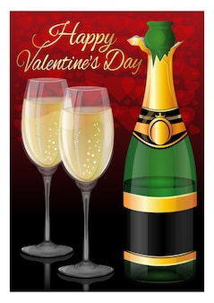 Valentines day card. open a bottle of champagne, two filled glasses on a background of red hearts and greeting inscription - happy valentines day.  illustration