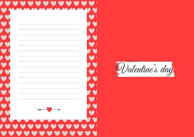 Шаблон карты дня святого валентина с линиями и сердечками