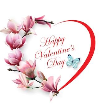 Открытка на день святого валентина сердце из красивых весенних цветов магнолии