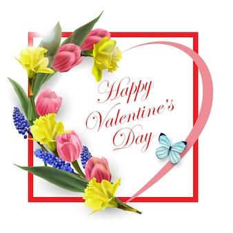 Открытка на день святого валентина сердце из красивых весенних цветов тюльпанов мускари нарциссов