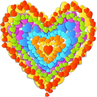 Valentines day card with beautiful big heart made up of small rainbow hearts