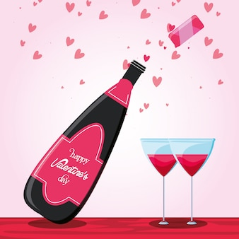 Valentines day card with bottle wine and glasses
