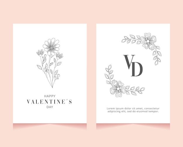 花の装飾と空白のバレンタインデーカード。