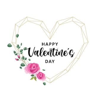 골드 하트와 꽃 장식 발렌타인 데이 카드.