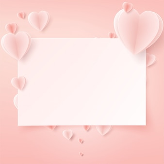 Valentines day card with heart paper art.