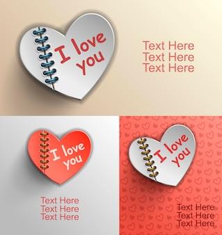 심장이 있는 발렌타인 데이 카드, 심장 형태의 종이 탭, 2월 14일. 마음, 발렌타인 배경, 벡터 일러스트와 함께 발렌타인 데이 카드
