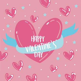 Valentines day card with hearts and ribbon