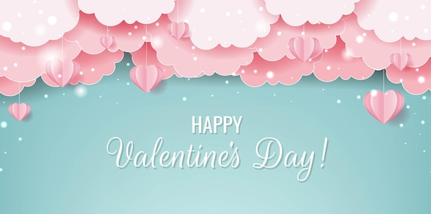 ピンクのハートと雲のバレンタインデーカード