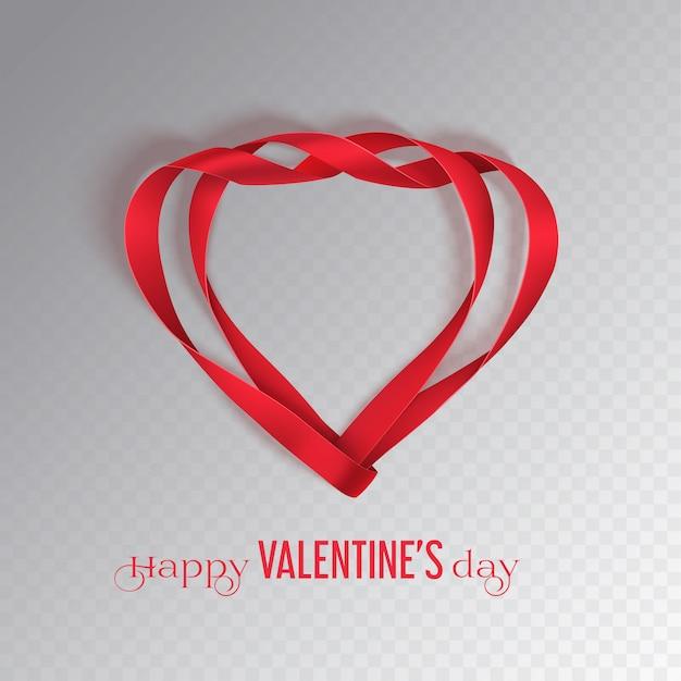 赤いリボンとバレンタインの日カード