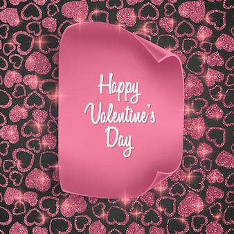 シームレスなハート柄、きらびやかな質感、リアルな紙のバレンタインデーカード。