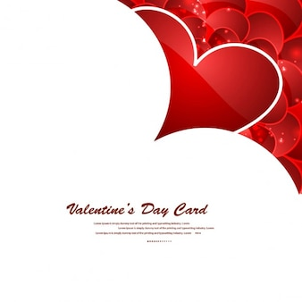 Valentines day card with shiny red hearts