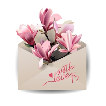 Valentines day cardcolorful spring flowers magnolia in the envelope concept spring background