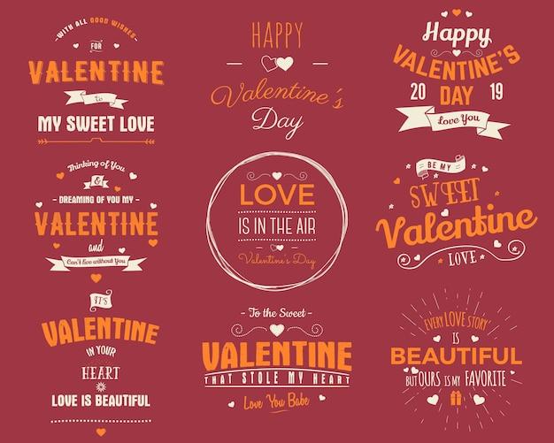 Собрание карточек дня святого валентина. элементы дизайна наложения типографии для праздничного скрапбукинга, подарочные карты, футболки, другие принты. эмблемы векторного вектора, изолированные на красном фоне.