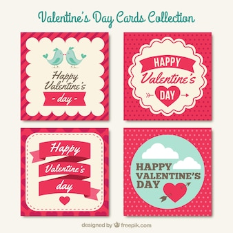 Valentines day cards collection Premium Vector