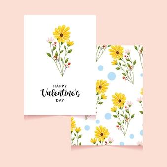 花の装飾が施されたバレンタインデーカード。