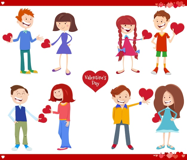 Valentines day cartoon illustration love set with girls and boys