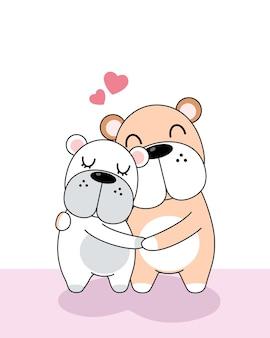 발렌타인 데이 축 하 귀여운 강아지 세트