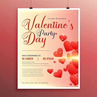 Valentines day celebration flyer design template