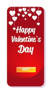 Valentines day celebration love banner flyer or greeting card with hearts vertical