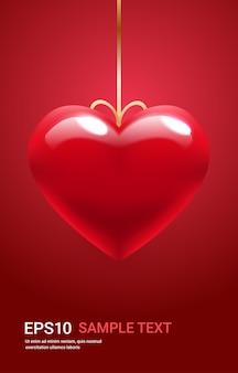 バレンタインデーのお祝いの愛のバナーチラシまたはハート型の縦のイラストのaitバルーンとグリーティングカード