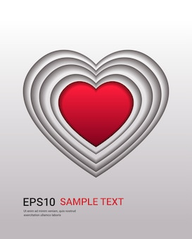 バレンタインデーのお祝いの愛のバナーチラシや紙のカットスタイルの縦のイラストのハート型のグリーティングカード