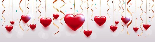 バレンタインデーのお祝いの愛のバナーチラシやハートの横のイラストとグリーティングカード